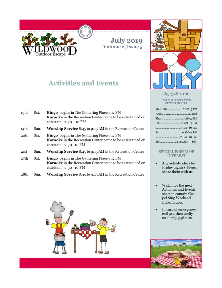 Image of activities & events for July