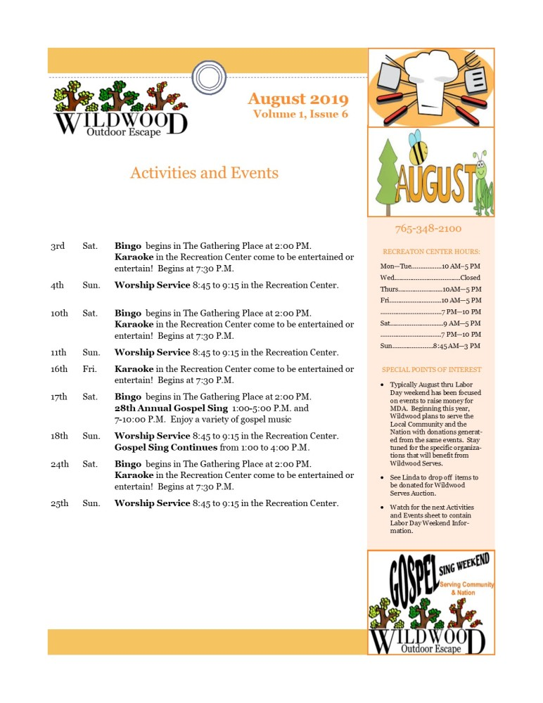 Image of activities & events for August
