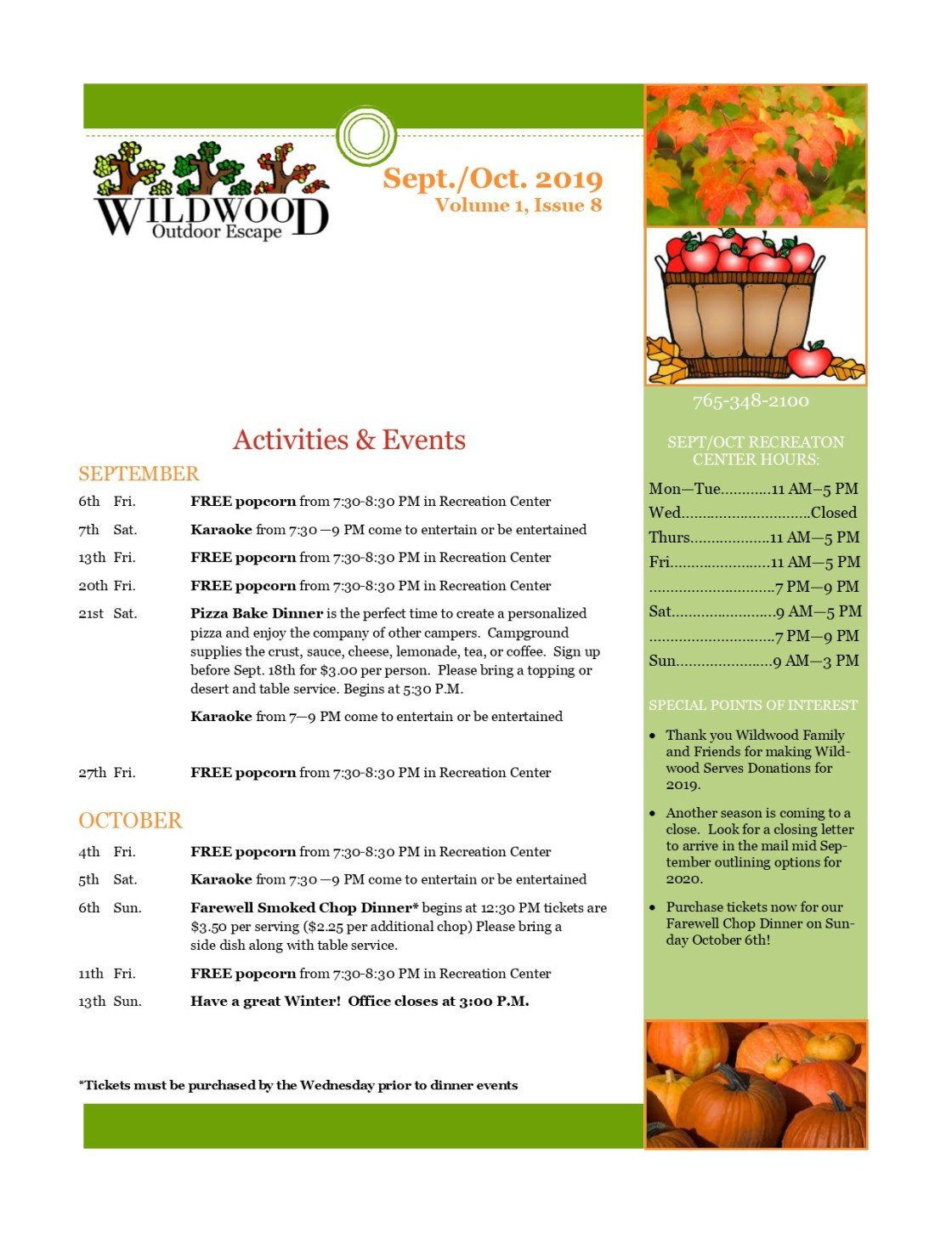 Image of activities and events for September & October
