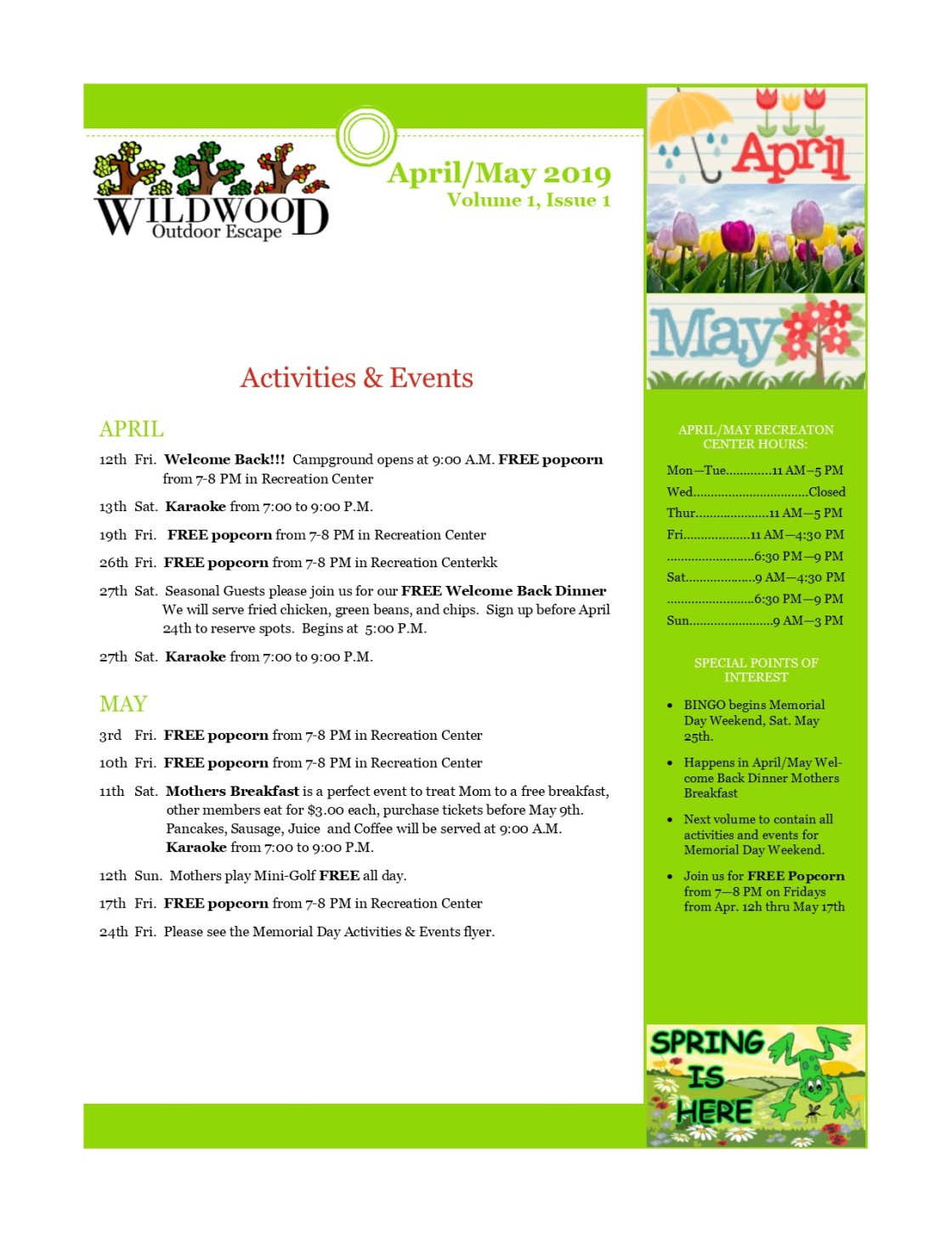 Image of activities & Events page for April and May